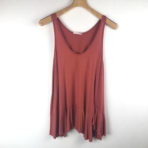 Umgee sleeveless raw ruffle hem stretch blouse SM
